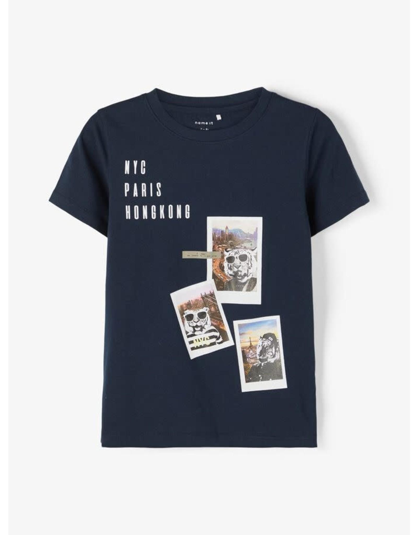 Name It Donkerblauwe t-shirt met tijgers op reis