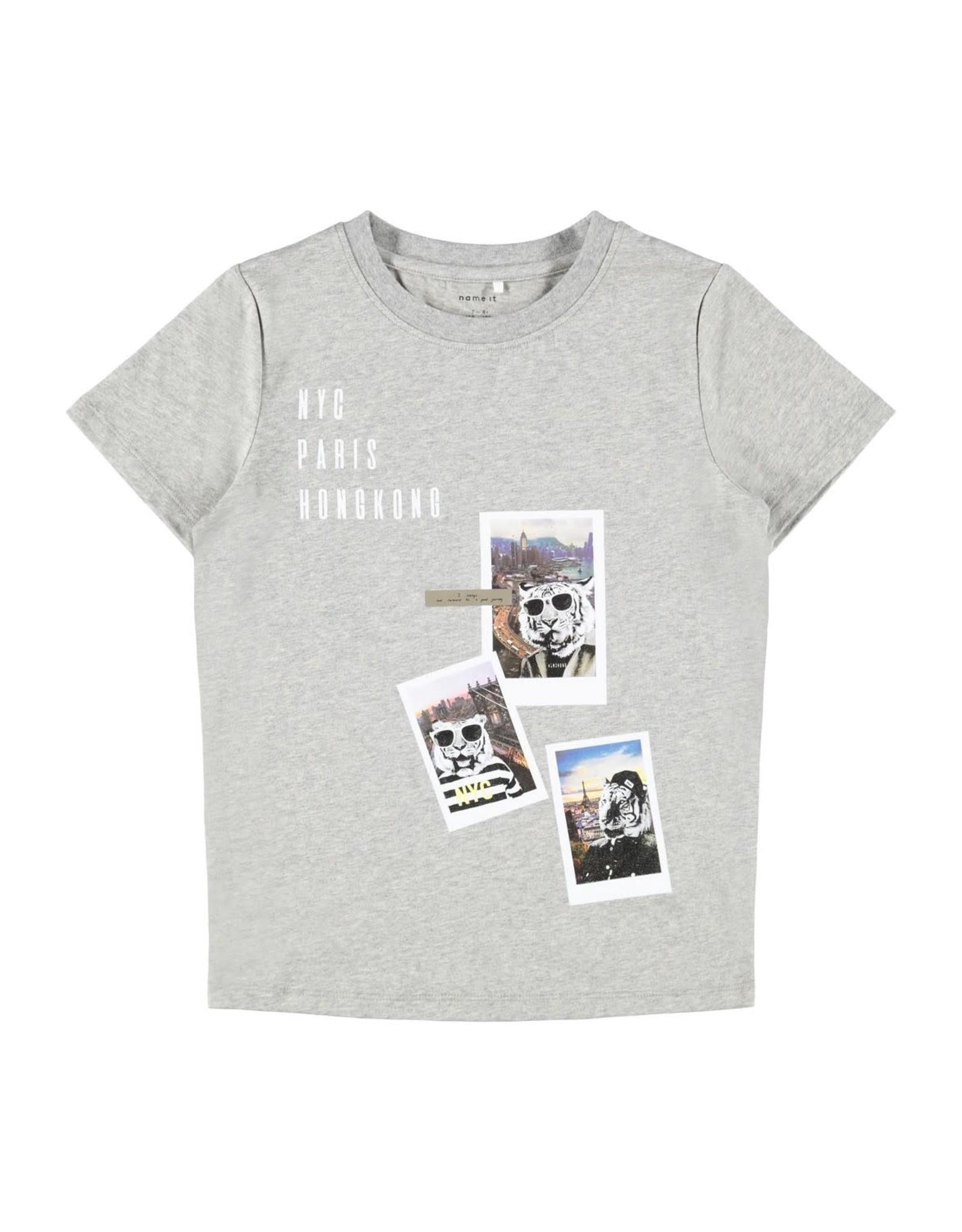 Name It Grijze t-shirt met tijgers op reis