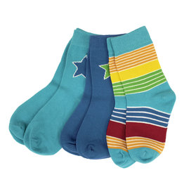 Villervalla 3-pack zachte sokken (2 effen + 1 streepjes)