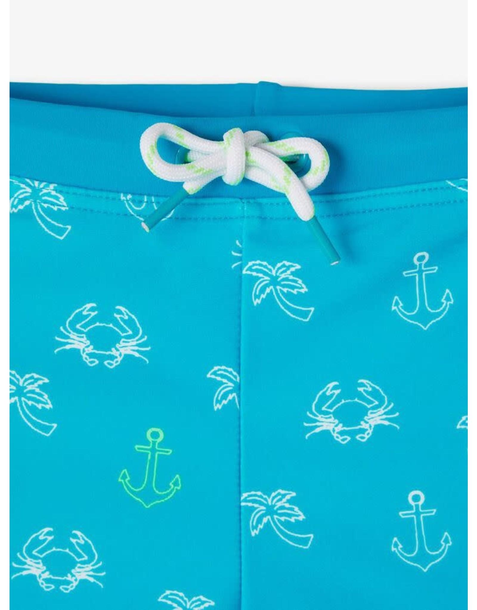 Name It Aqua blauwe zwembroek met maritieme printjes