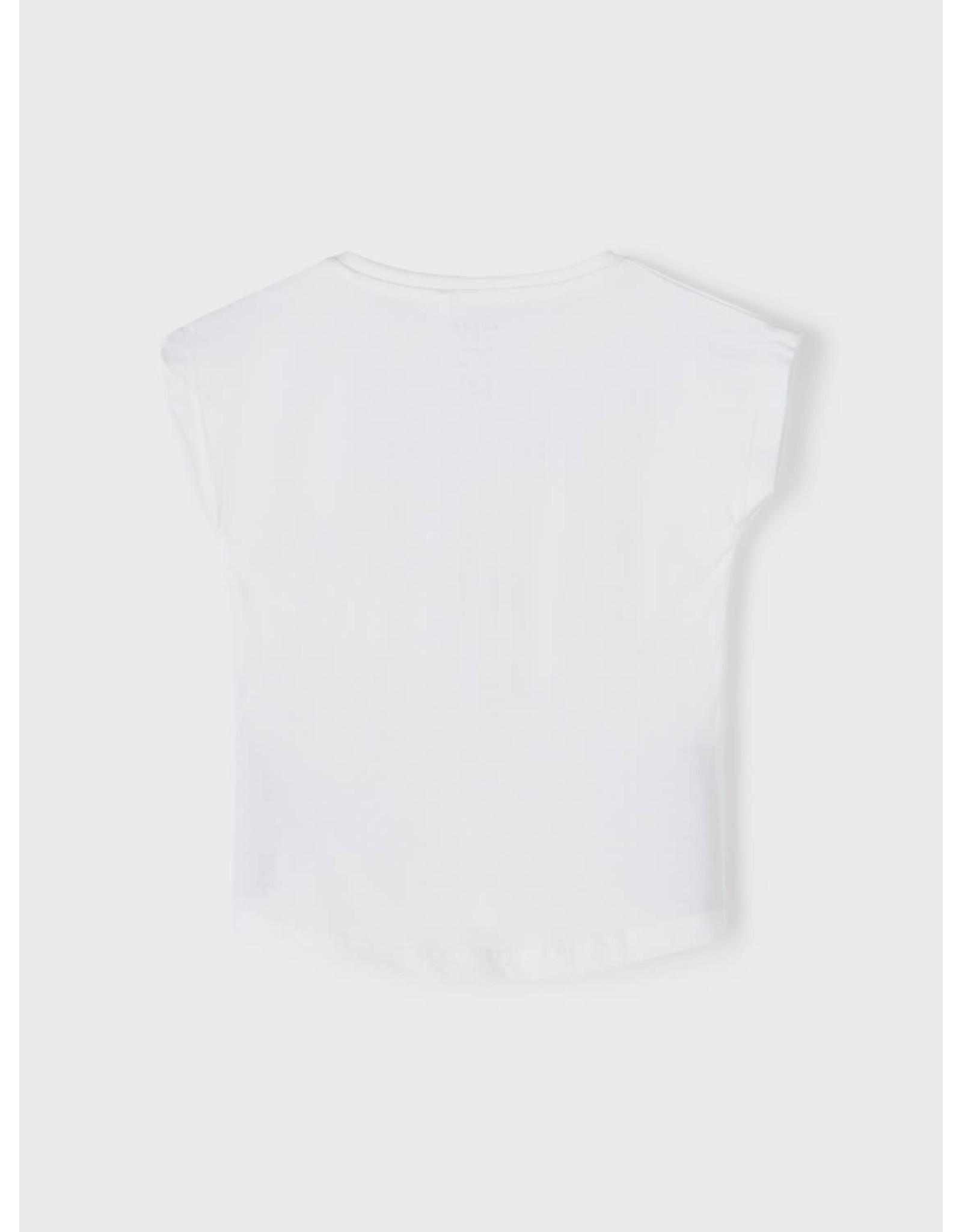 Name It Basis witte bedrukte t-shirt voor kleine meisjes