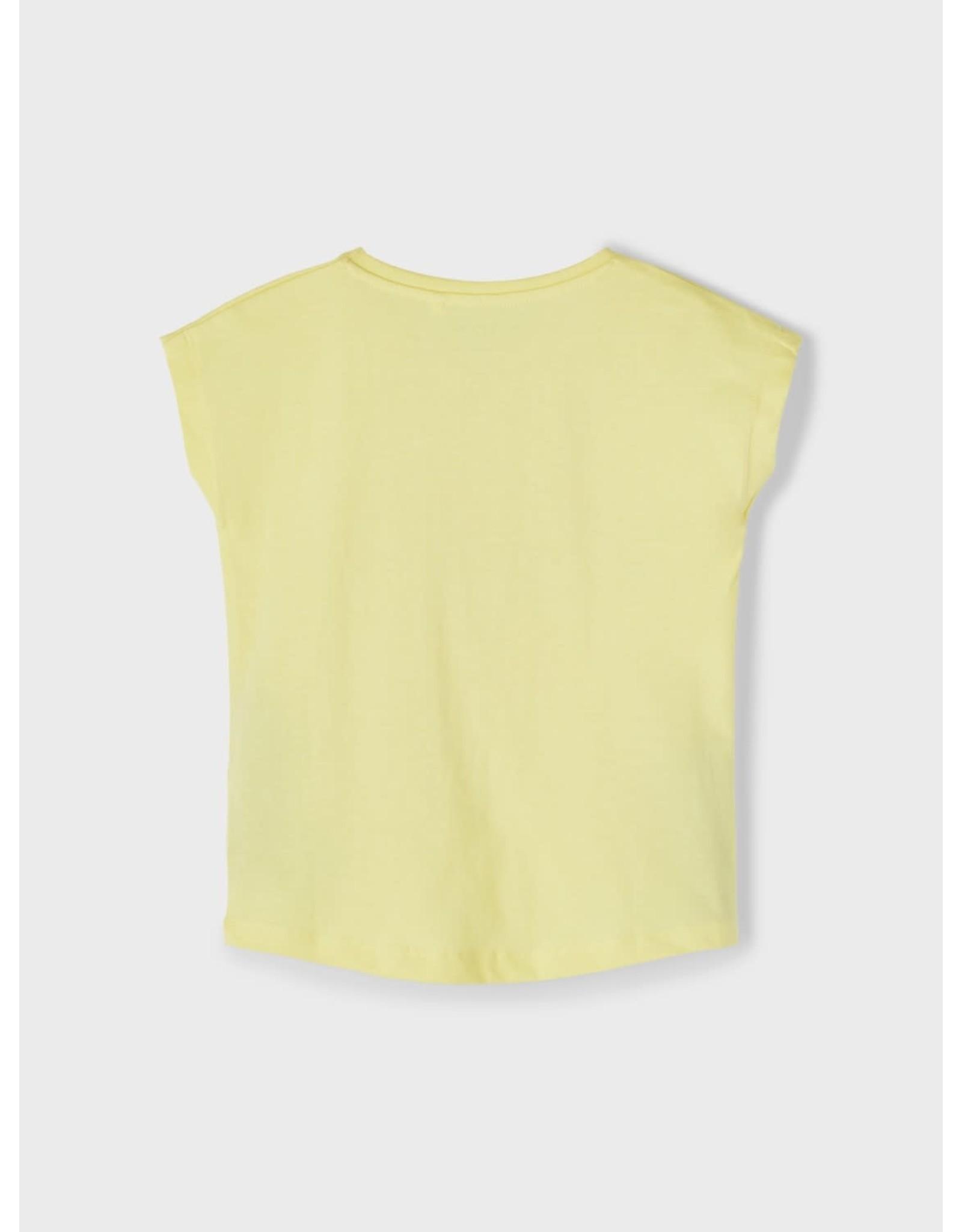 Name It Basis gele bedrukte t-shirt voor kleine meisjes