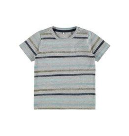 Name It Grijze basis t-shirt met streepjes