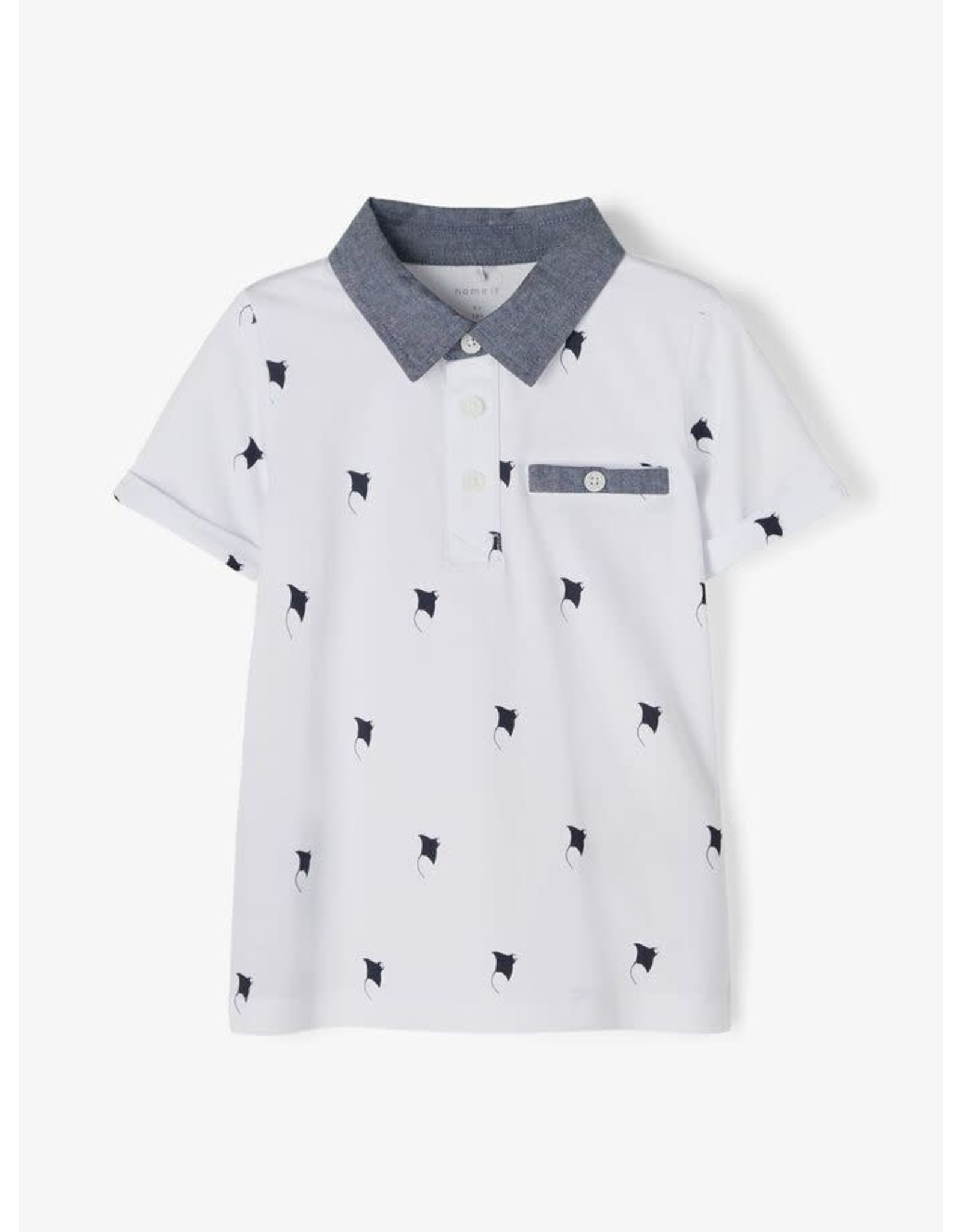 Name It Witte polo met roggen print