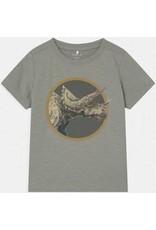 Name It Groengrijze t-shirt met triceratops dino