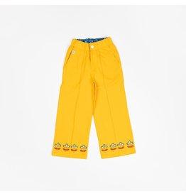 ALBA of Denmark Gele brede retro broek met onderaan bloemenpatroon