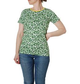 Duns VOLWASSENEN groene t-shirt met witte bloemetjes