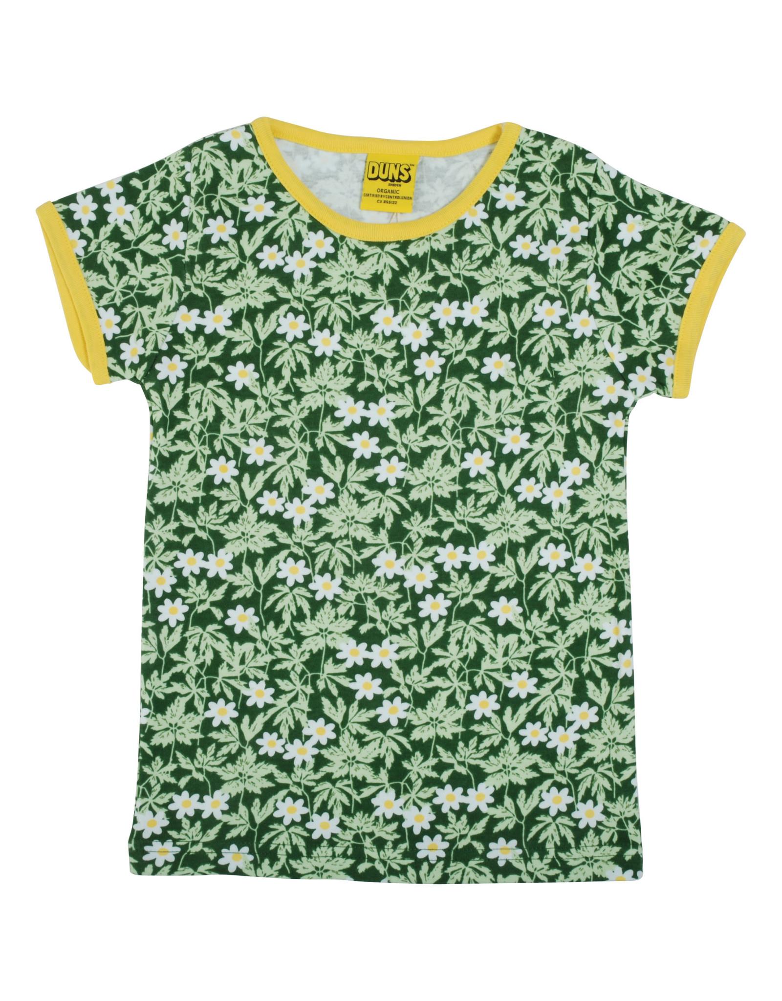 Duns Zachte groene t-shirt met witte bloemetjes
