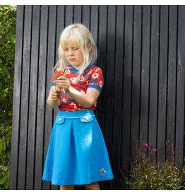 ALBA of Denmark Blauw retro rokje met geborduurd bloemetje