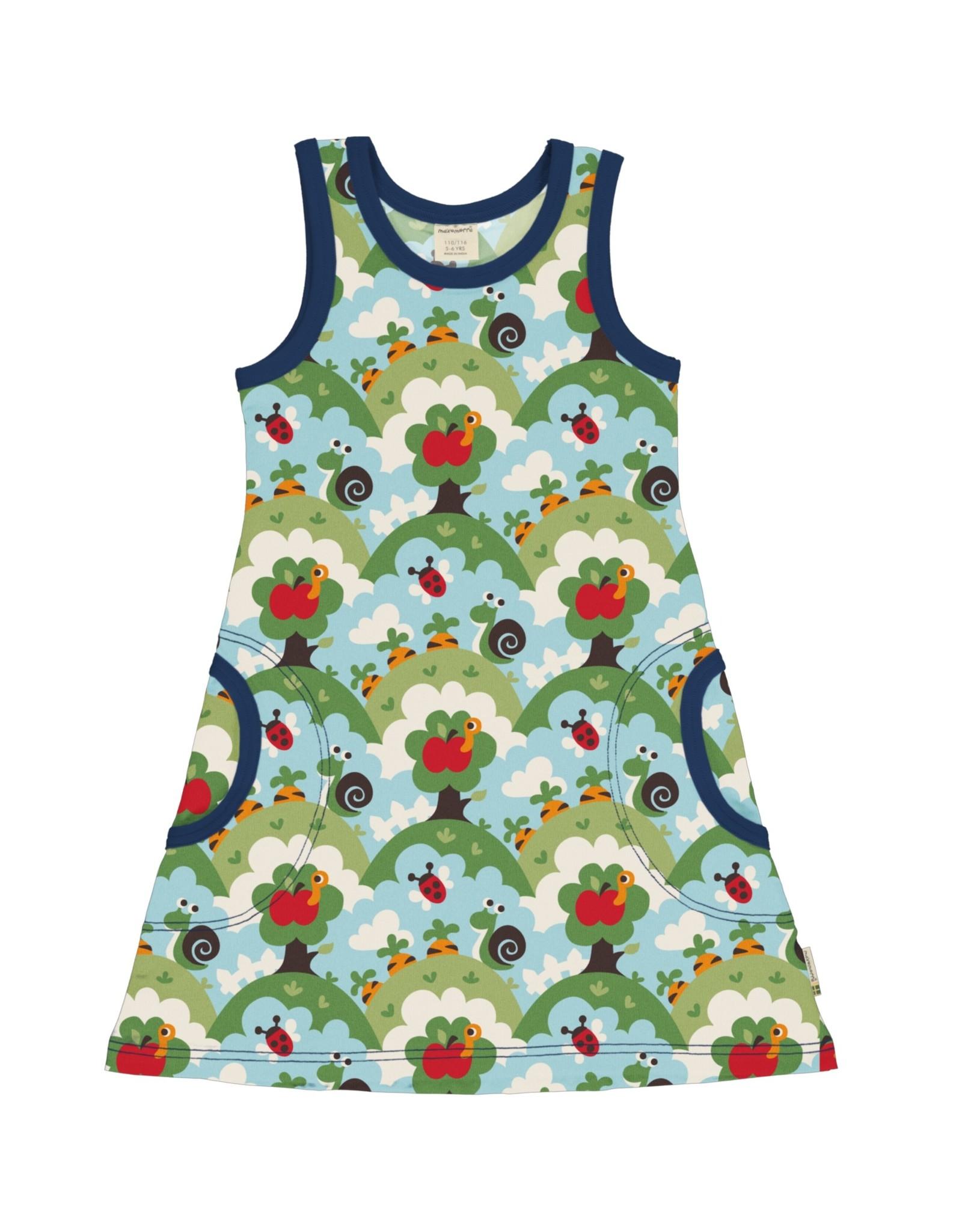 Maxomorra Mouwloze A-lijn jurk met dieren uit de tuin