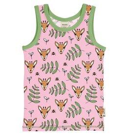 Meyadey Mouwloze t-shirt met giraffen print