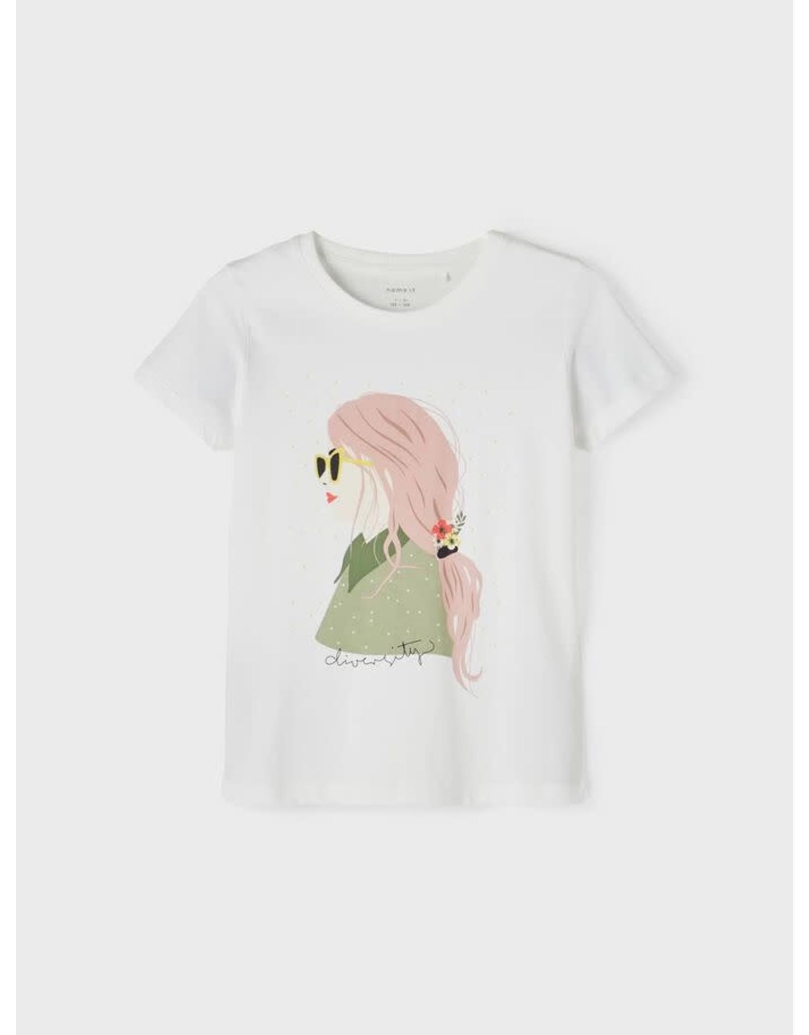 Name It Witte t-shirt met bedrukking van meisje