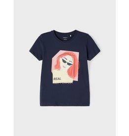 Name It Blauwe t-shirt met grafische print van meisje