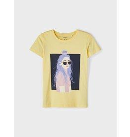 Name It Gele t-shirt met meisje bedrukking
