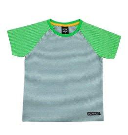 Villervalla Groen-grijze gestreepte unisex t-shirt