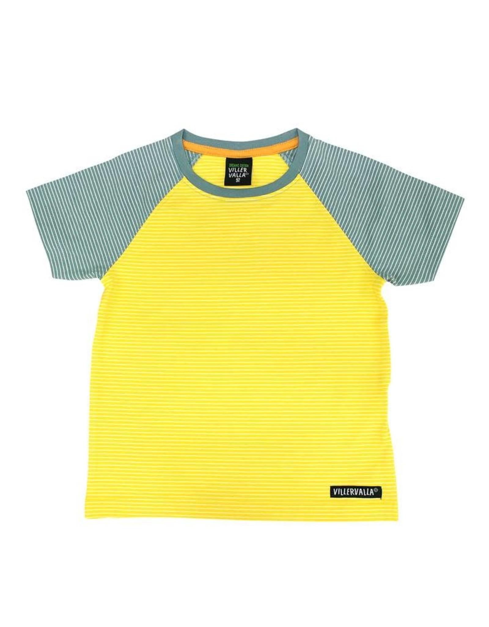 Villervalla Geel-grijs gestreepte unisex t-shirt