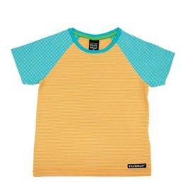 Villervalla Oranje-aqua gestreepte unisex t-shirt