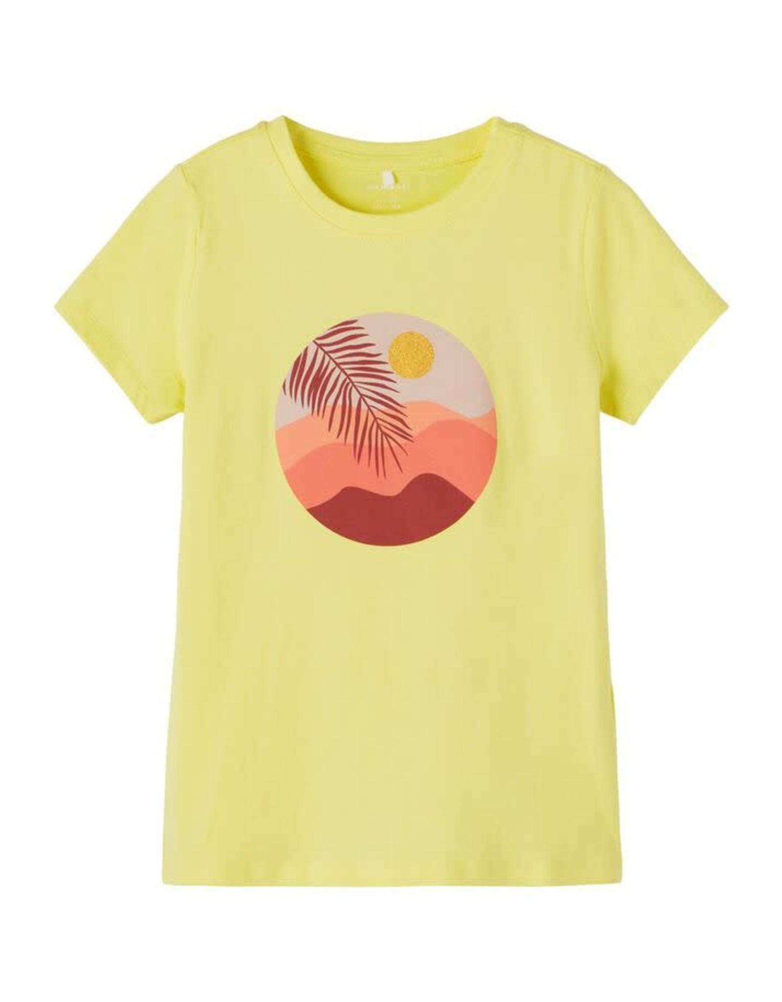 Name It Fleurige gele t-shirt met bedrukking