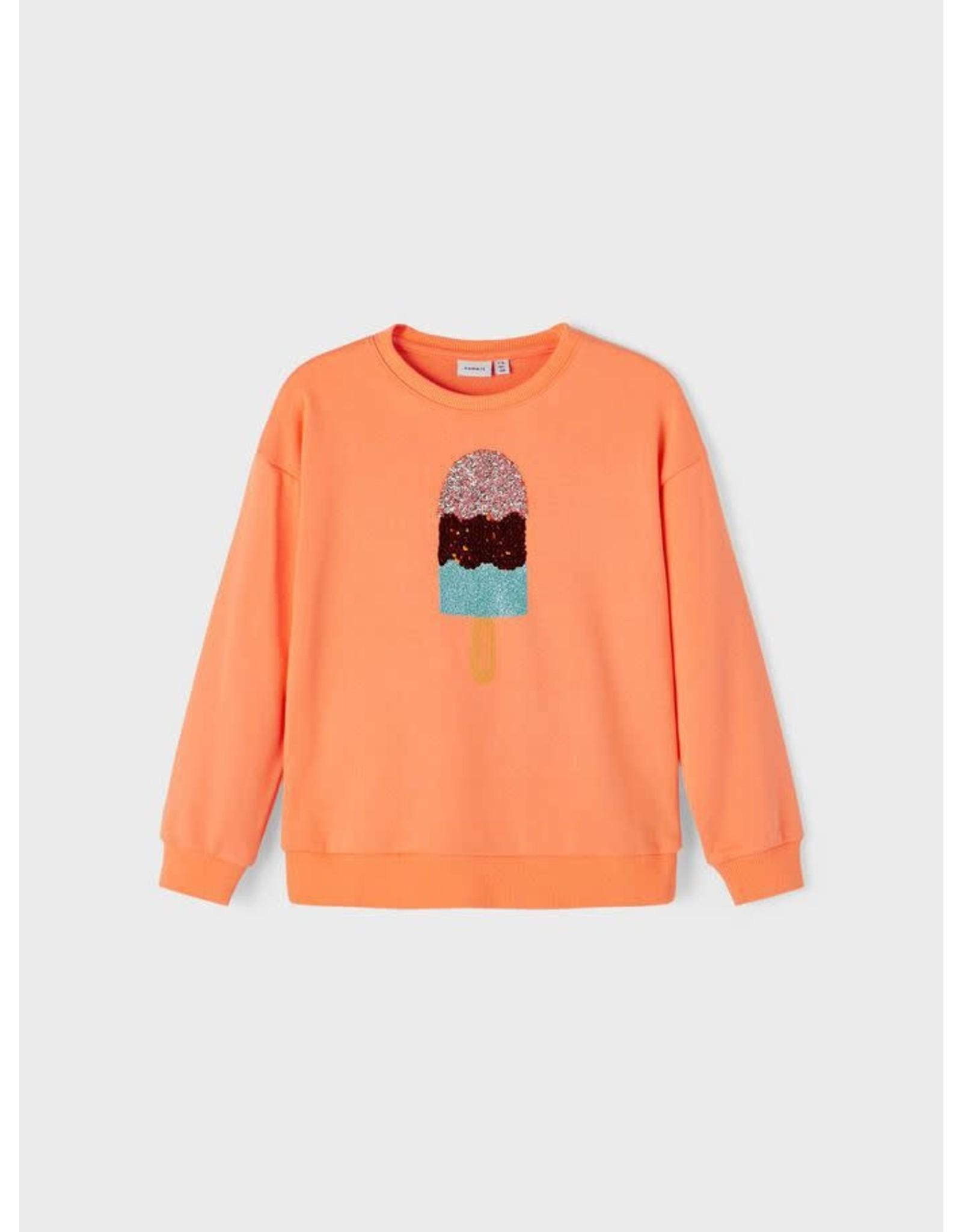 Name It Oranje trui met glitter ijsje