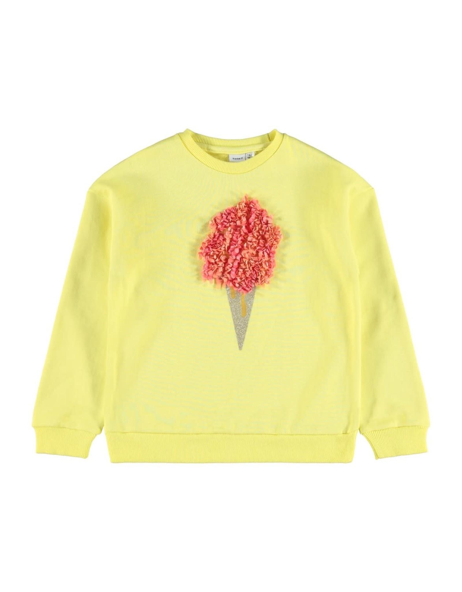 Name It Fel gele trui met ijsje applicatie