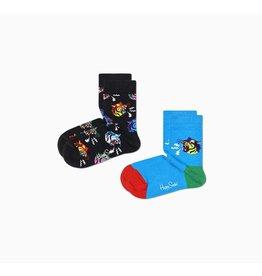 Happy Socks 2-pack kindersokken met tijgers