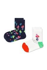 Happy Socks 2-pack kindersokken met flamingo's