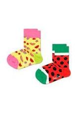 Happy Socks 2-pack kindersokken met watermeloenen
