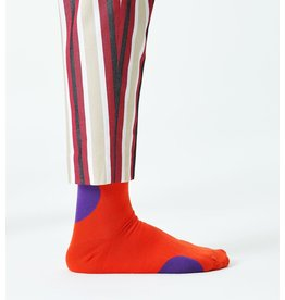 Happy Socks MAAT 36/40 - Oranje sokken met grote paarse bollen