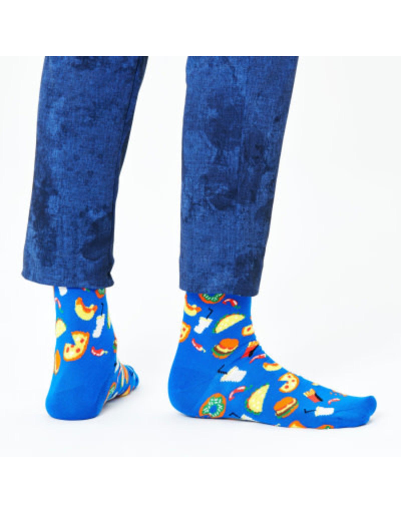 Happy Socks MAAT 36/40 - Blauwe sokken met pizza's, donuts, taco's,...