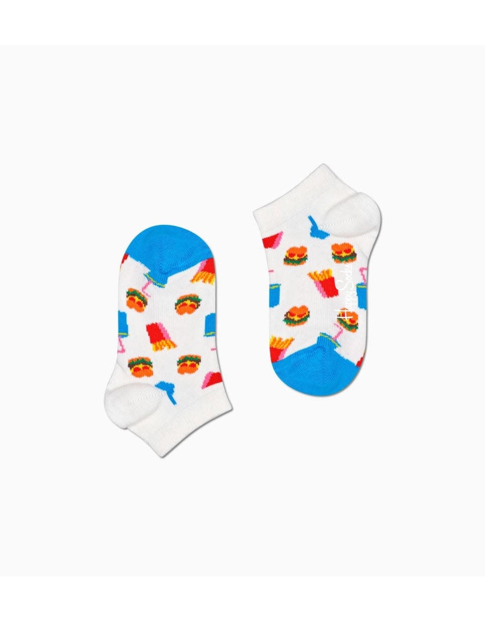 Happy Socks Witte lage kindersokken met hamburgers