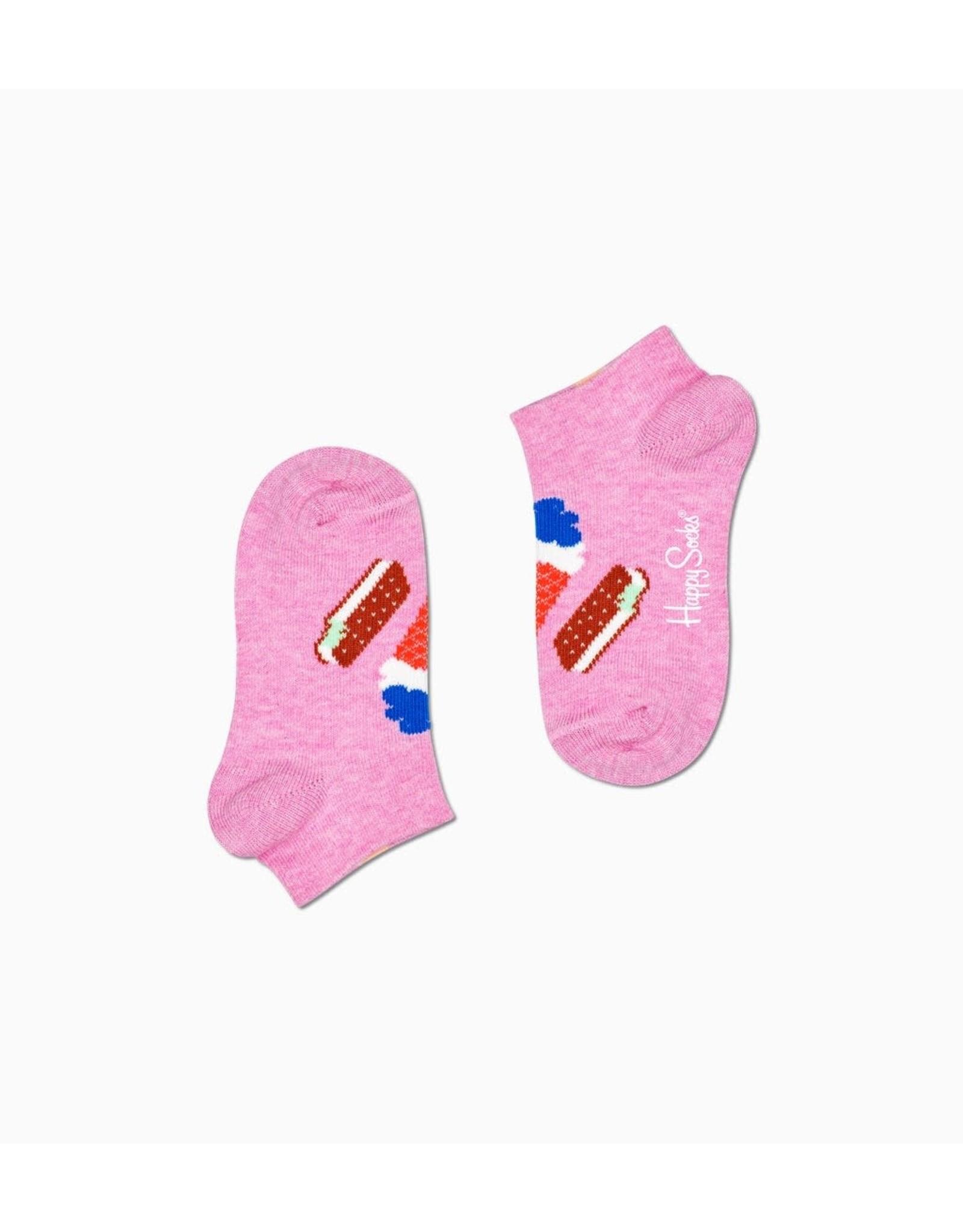 Happy Socks Lage roze kindersokken met ijsjes bovenaan