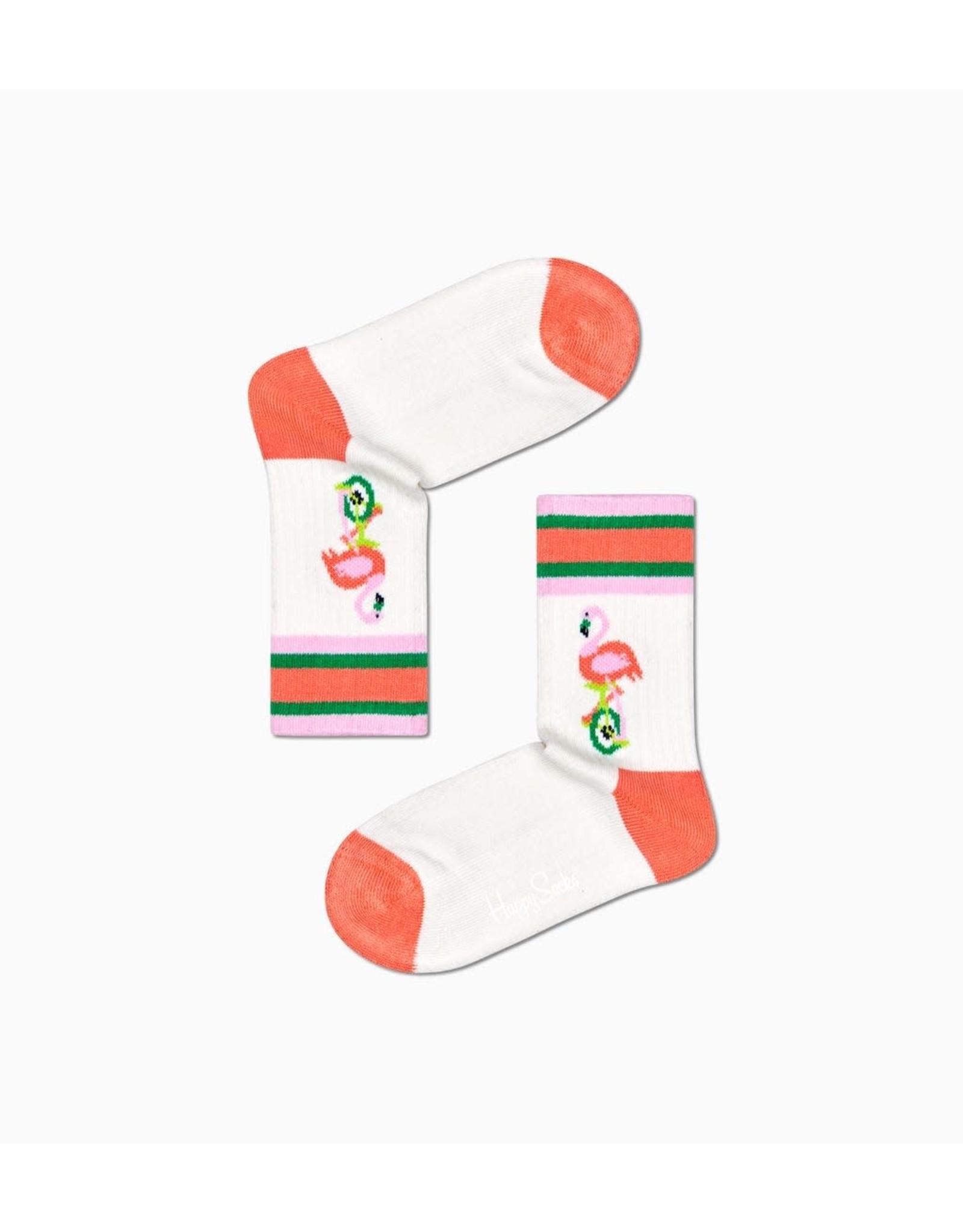 Happy Socks Geribde kindersokken met een flamingo