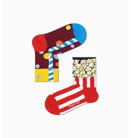 Happy Socks 2 verschillende sokken voor kinderen (drankje + popcorn)
