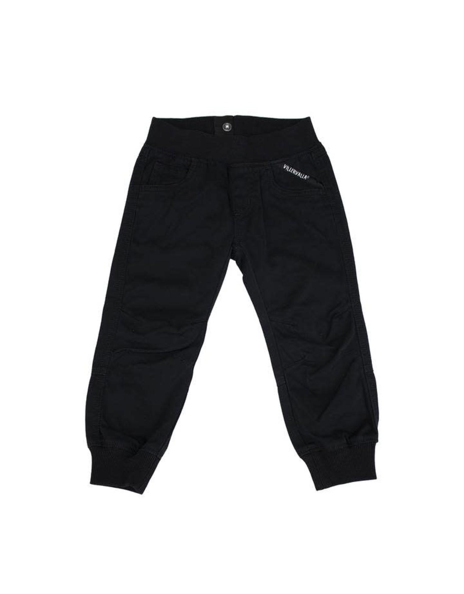 Villervalla Zachte zwarte broek zonder knop met rekkers