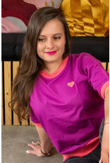 ALBA of Denmark VOLWASSENEN paarste t-shirt afgeboord met roze
