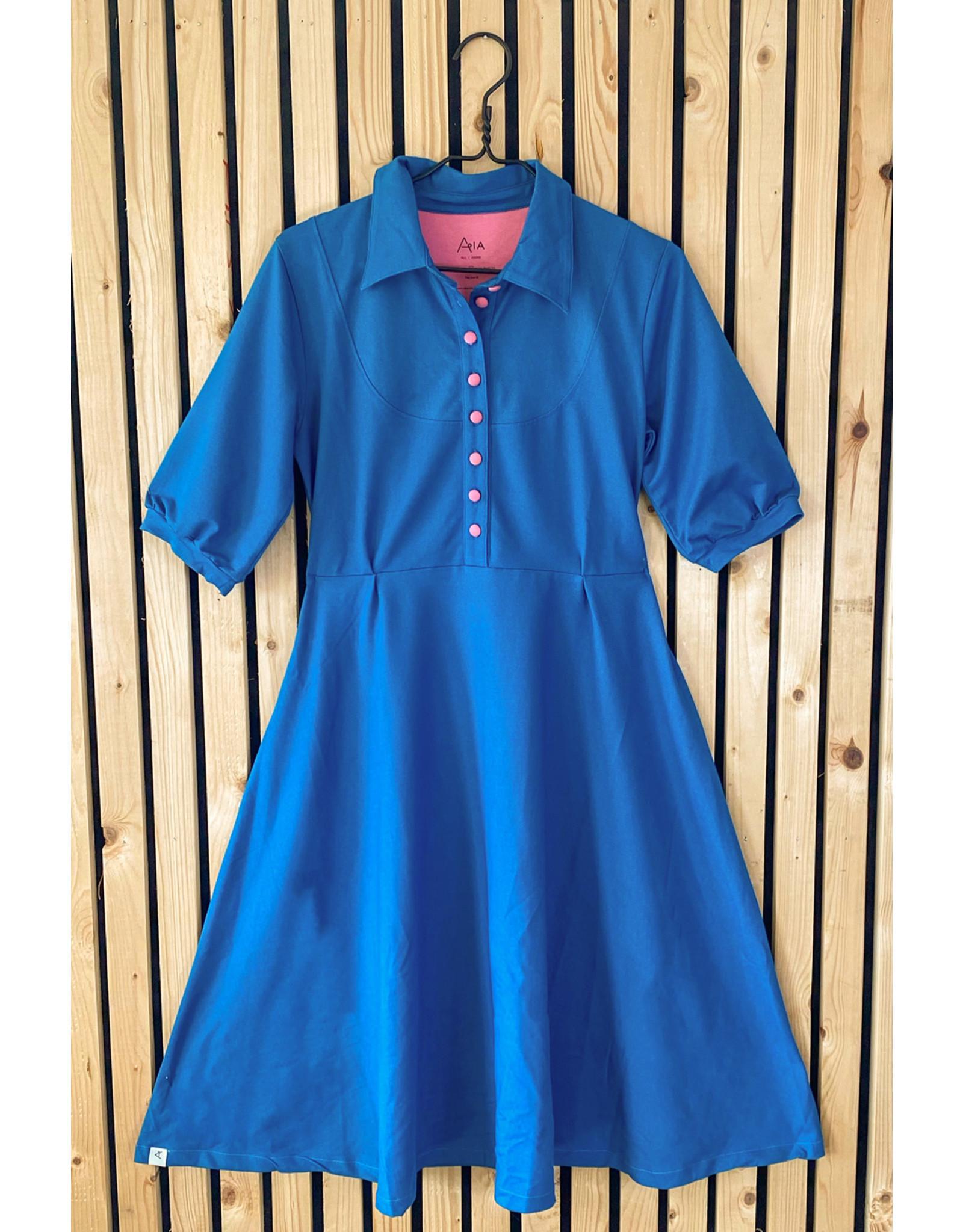 ALBA of Denmark VOLWASSENEN retro blauwe jurk