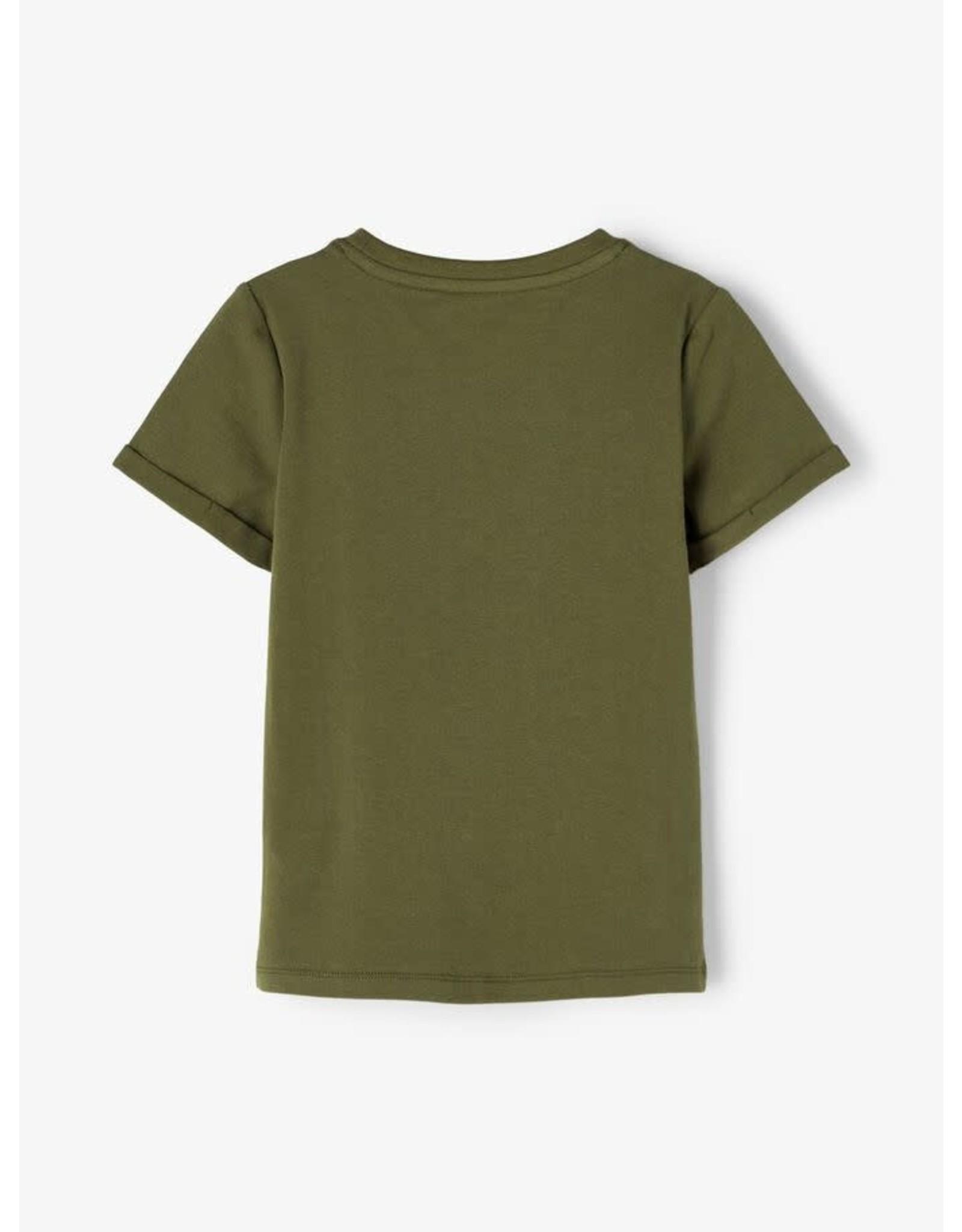 Name It Groene t-shirt met veranderend fototoestel (tekst - smiley)