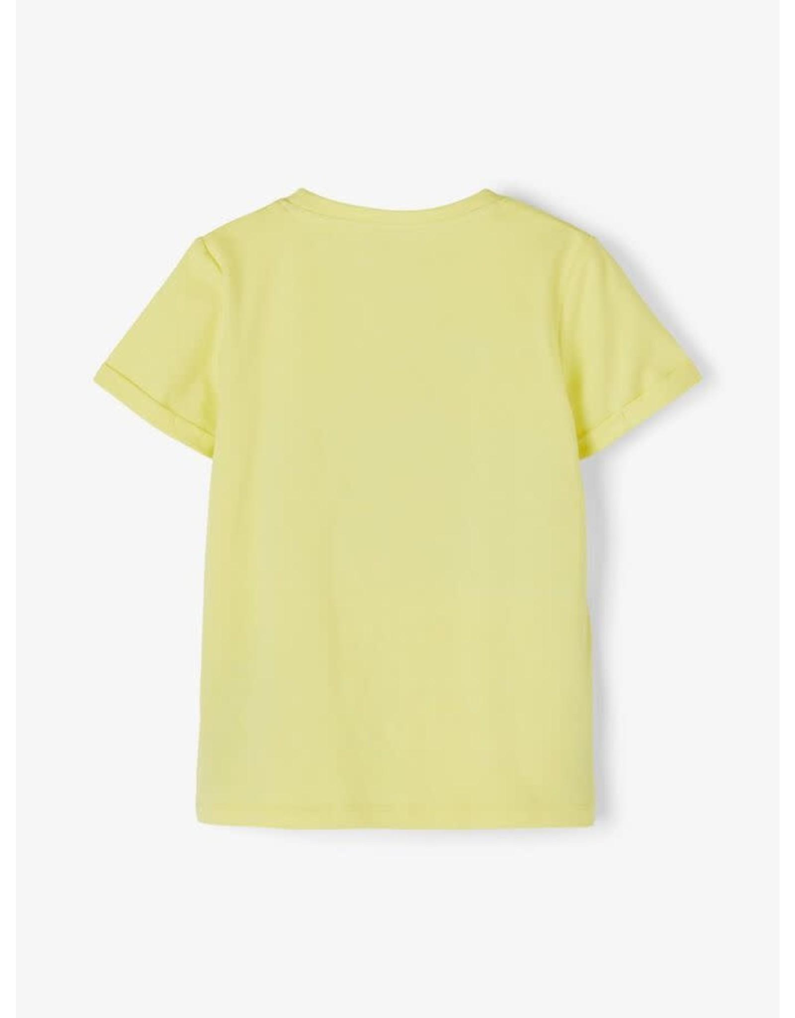 Name It Gele t-shirt met veranderend fototoestel (tekst - smiley)