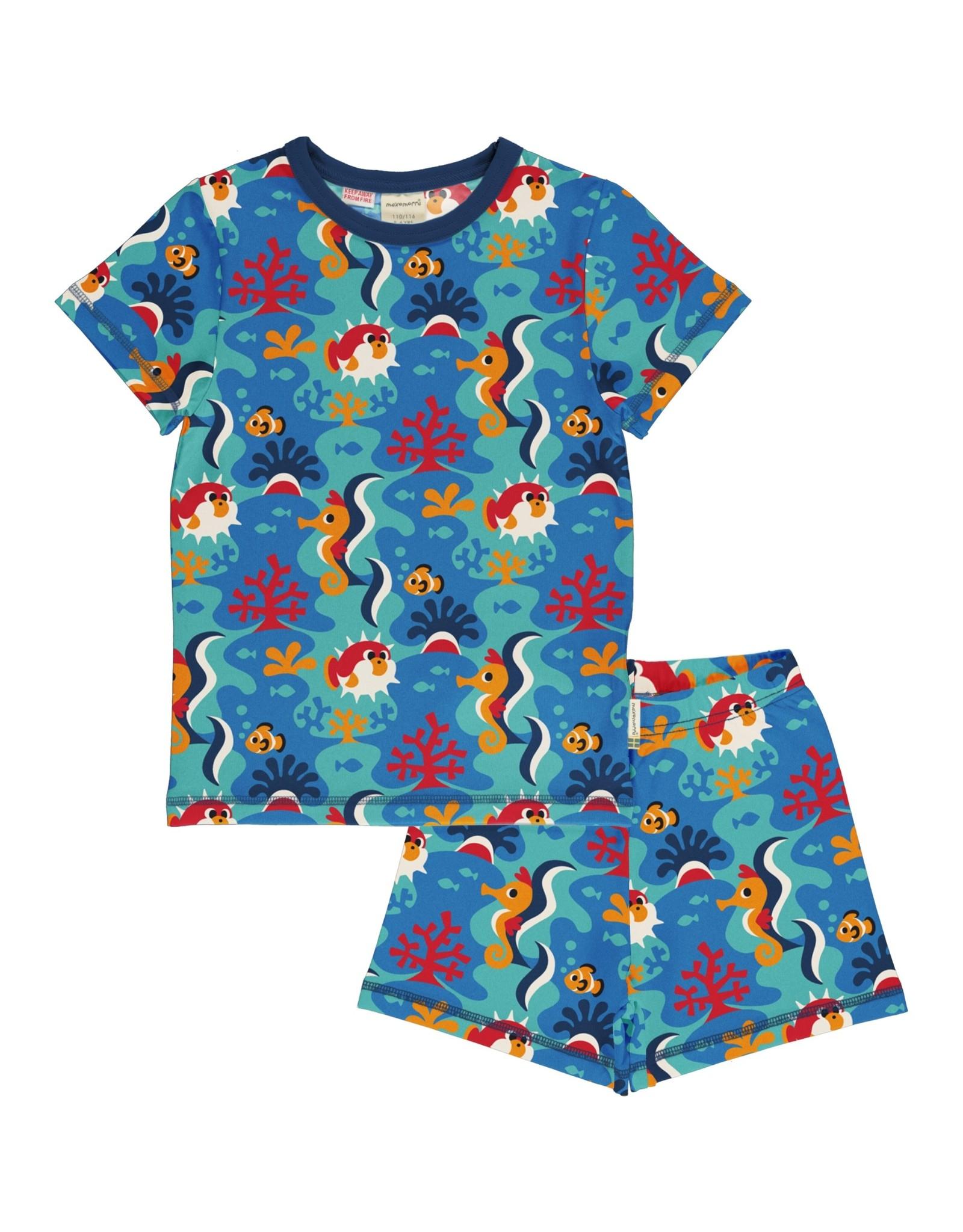 Maxomorra Zomer pyjama met koraalrif print
