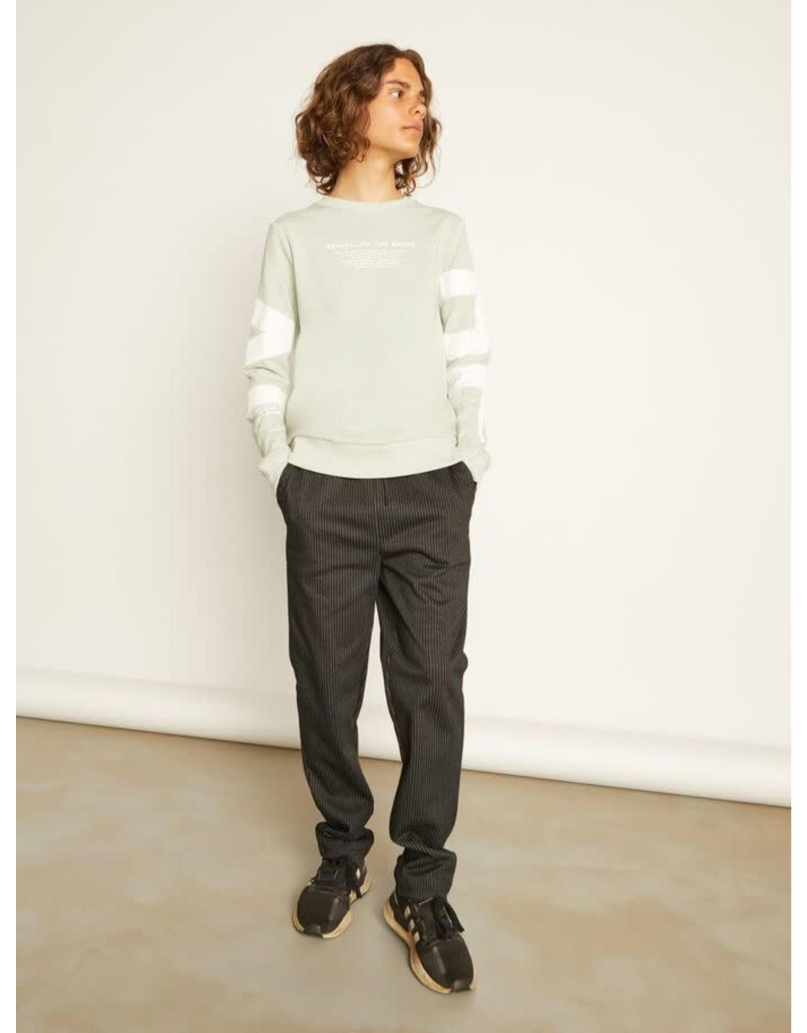 Name It Zwarte broek zonder knop met witte krijtstreep