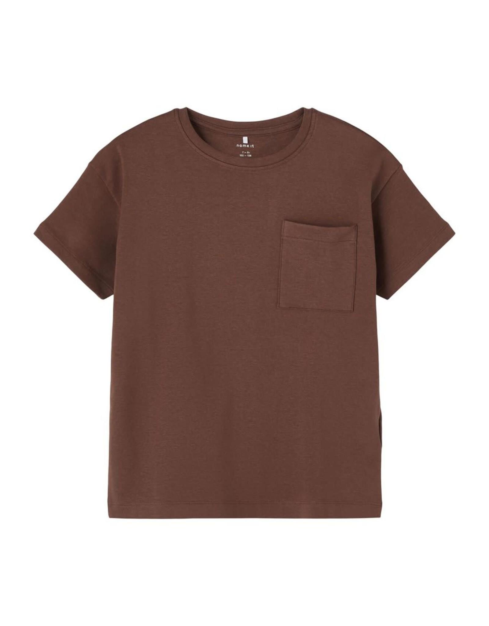 Name It Super zachte bruine t-shirt met borstzakje