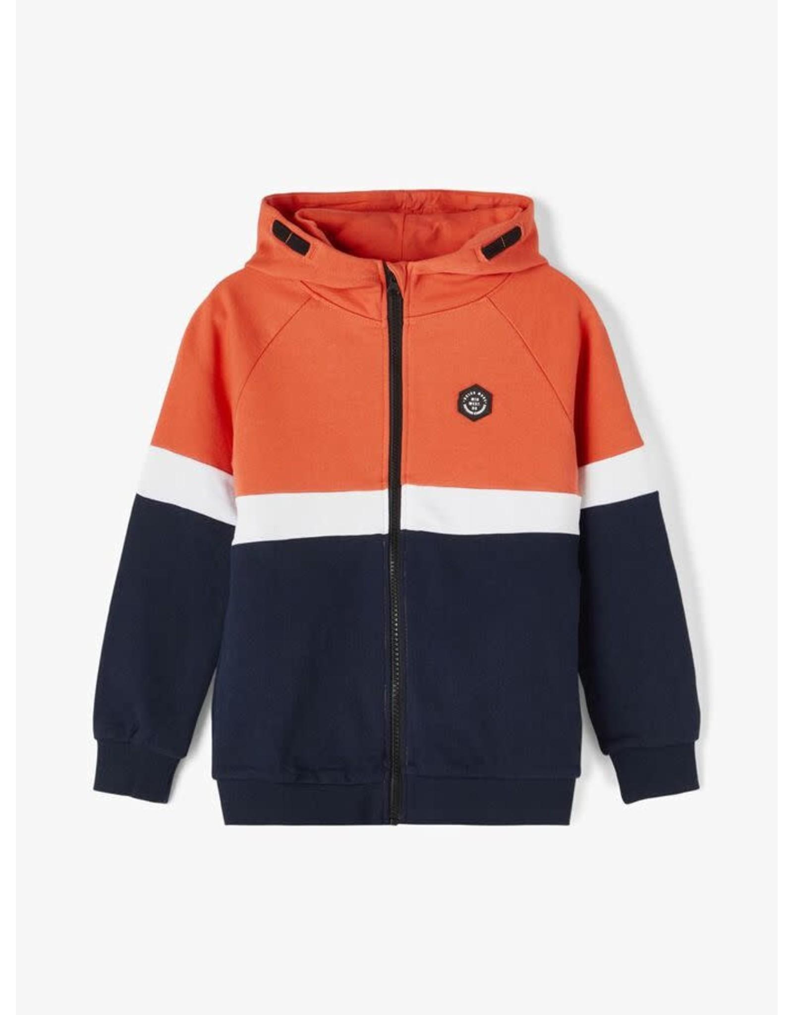 Name It Stoere oranje blauwe hoodie met rits