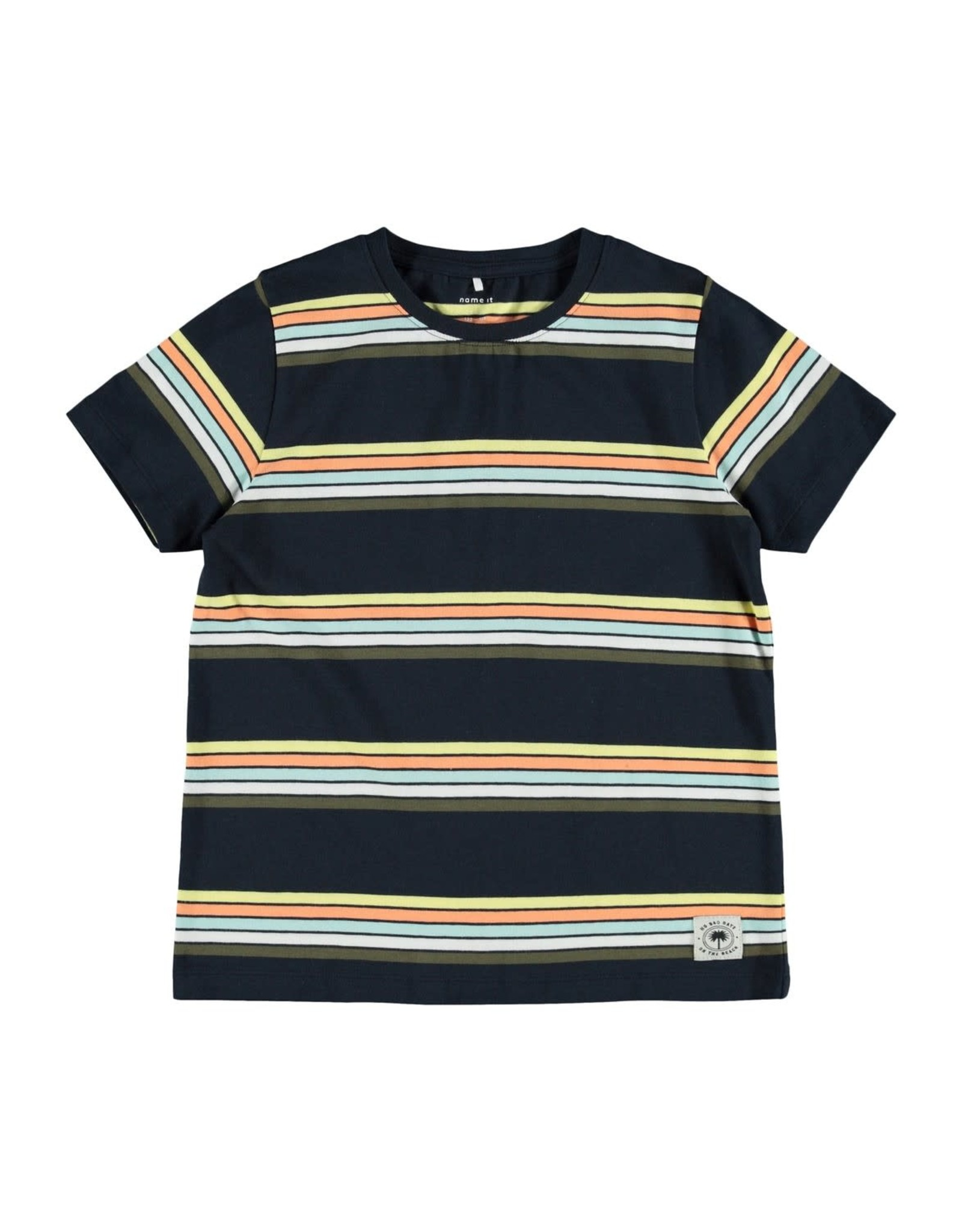 Name It Donkerblauwe t-shirt met vrolijke streepjes