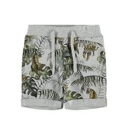Name It Grijze sweatstof short met tropische tijgerprint