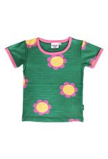 Moromini Fel groene t-shirt met retro bloemen