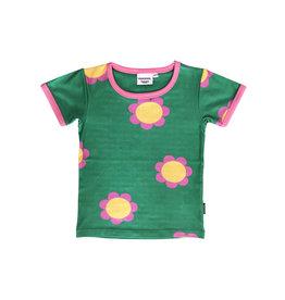 Fel groene t-shirt met retro bloemen