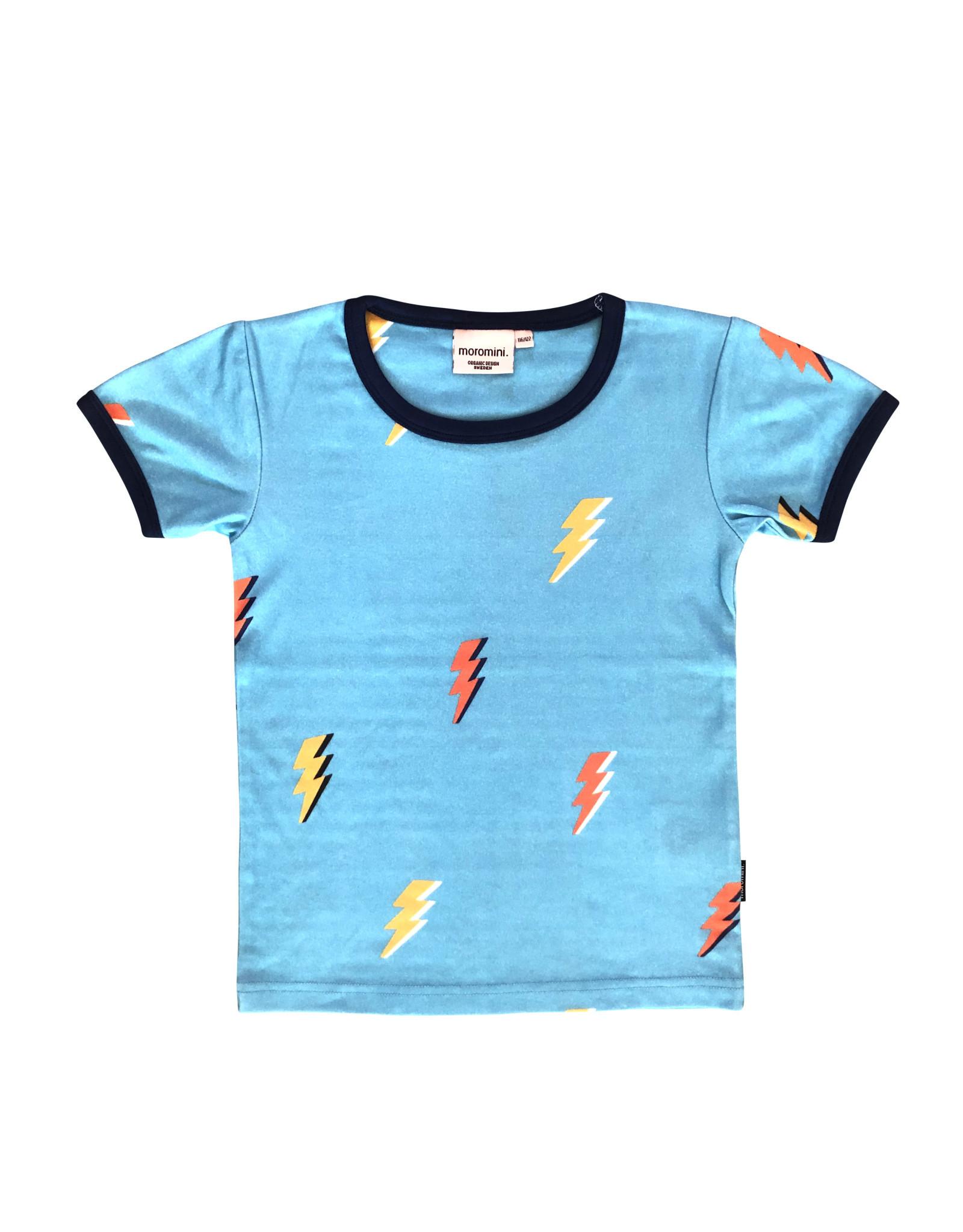 Moromini Blauwe t-shirt met bliksemschichten
