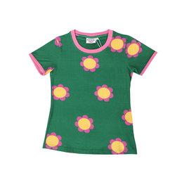 Moromini VOLWASSENEN groene t-shirt met retro bloemen