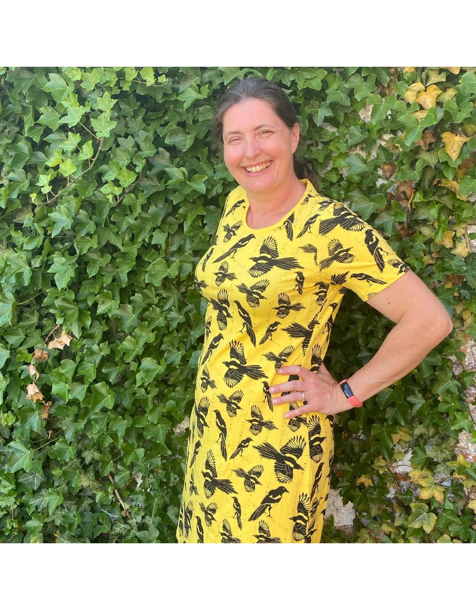 Duns VOLWASSENEN geel kleedje met vogels
