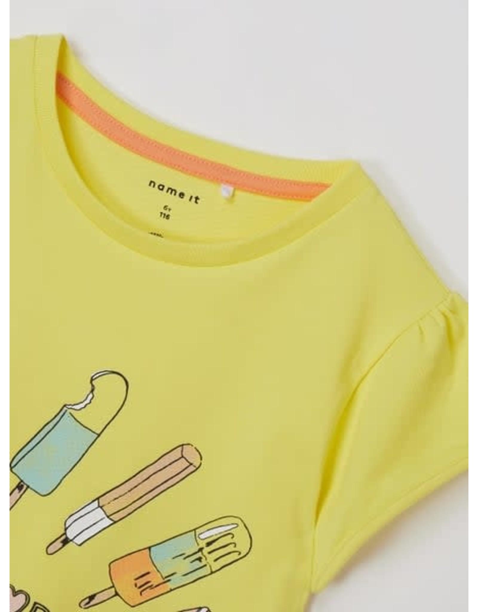 Name It Vrolijke gele t-shirt met een ijsje voor elke dag